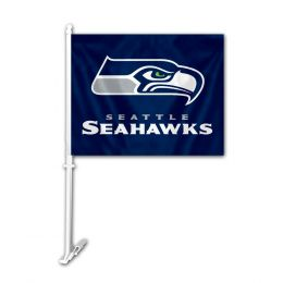 Seattle Seahawks Car Flag w/Wall Brackett NFL Team Logo