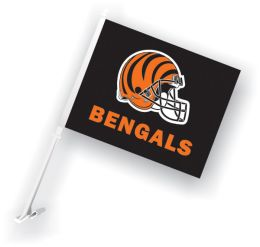 Cincinnati Bengals NFL Team Logo Car Flag w/Wall Brackett