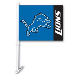 Detroit Lions Car Flag w/Wall Brackett NFL Team Logo Blue & White