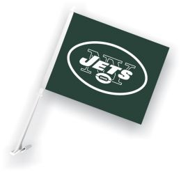 New York Jets Car Flag w/Wall Brackett NFL Logo Green & White