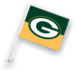 Green Bay Packers Car Flag w/Wall Brackett NFL Logo Green & Gold