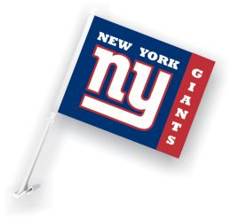 New York Giants Car Flag w/Wall Brackett NFL Team Logo Red & Blue