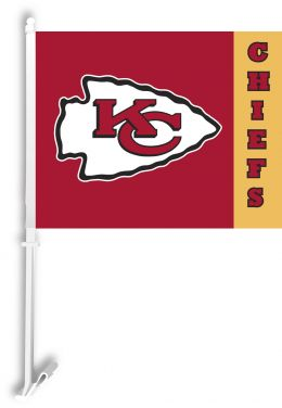 Kansas City Chiefs NFL Team Logo Car Flag w/Wall Brackett
