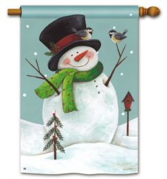 Woodland Snowman Winter Seasonal Standard House Flag