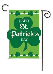 Outdoor Decorative Garden Flag - Happy St. Pat's Shamrock