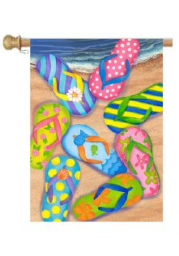 "Flip Flop Beach Summer Seasonal Decorative Flags (Flag size: 28"" x 40"")"