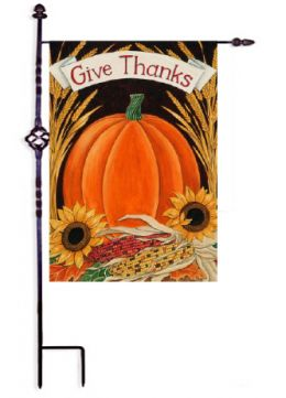 "Outdoor Decorative Garden or House Flag - Give Thanks Pumpkin (Flag size: 12.5"" x 18"")"