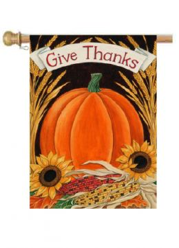 "Outdoor Decorative Garden or House Flag - Give Thanks Pumpkin (Flag size: 28"" x 40"")"
