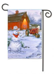 "Outdoor Decorative Garden or House Flag - Tractor Snowman (Flag size: 12.5"" x 18"")"