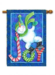 "Outdoor Decorative Garden or House Flag - Snowman Joy (Flag size: 28"" x 40"")"