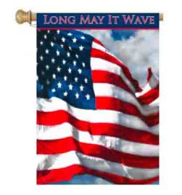 "Long May it Wave Patriotic Garden or House Flag (Flag size: 28"" x 40"")"