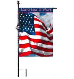 "Long May it Wave Patriotic Garden or House Flag (Flag size: 12.5"" x 18"")"