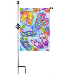 "Flip Flop Flowers Summer Seasonal Garden or House Flag (Flag size: 12.5"" x 18"")"