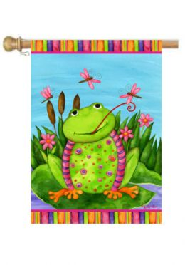 "Happy Frog Spring Seasonal Decorative Flag & Mat Collection (Select Flag or Doormat: 28"" x 40"")"