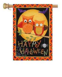"Outdoor Decorative Garden or House Flag - Happy Owl-oween (Flag size: 28"" x 40"")"