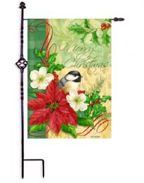 "Outdoor Decorative Garden or House Flag - Christmas Chickadee (Flag size: 12.5"" x 18"")"