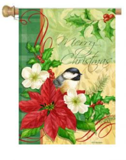 "Outdoor Decorative Garden or House Flag - Christmas Chickadee (Flag size: 28"" x 40"")"