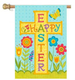 "Happy Easter Cross Spring Holiday Garden or House Flag (Flag size: 28"" x 40"")"