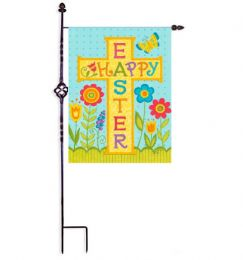"Happy Easter Cross Spring Holiday Garden or House Flag (Flag size: 12.5"" x 18"")"