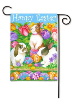 "Decorative Garden & House Flag or Doormat - Easter Egg Bunnies (Select Flag or Doormat: 12.5"" x 18"")"