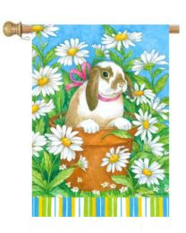 "Peekaboo Bunny Spring Holiday & Seasonal Decorative Flags (Flag size: 28"" x 40"")"