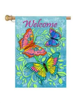 "Welcome Butterflies Spring Seasonal Garden - House Flag & Doormat (Select Flag or Doormat: 28"" x 40"")"