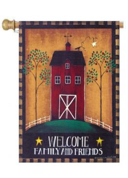 "Welcome Barn Fall Season House Flag or Welcome Doormat (Select Flag or Doormat: 28"" x 40"")"
