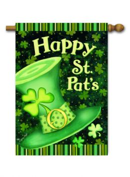 "Outdoor Decorative Garden or House Flag - St. Pat's Hat (Flag size: 28"" x 40"")"