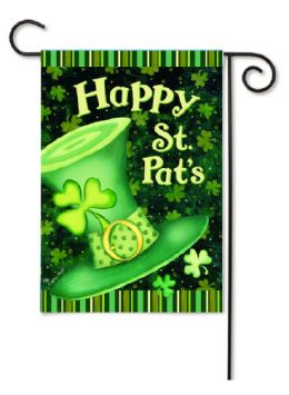 "Outdoor Decorative Garden or House Flag - St. Pat's Hat (Flag size: 12.5"" x 18"")"