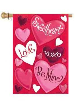 "Valentine Hearts Love Spring Holiday Garden or House Flag (Select Flag or Doormat: 28"" x 40"")"