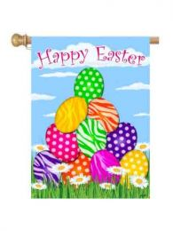 "Zebra Eggs Easter Spring Seasonal Garden or House Flag (Flag size: 28"" x 40"")"