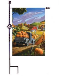 "Outdoor Decorative Garden or House Flag - Pumpkin Harvest (Flag size: 12.5"" x 18"")"