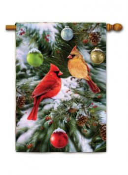 "Decorative House & Garden Flag or Doormat - Cardinals & Ornaments (Select Flag or Doormat: 28"" x 40"")"