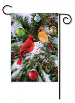 "Decorative House & Garden Flag or Doormat - Cardinals & Ornaments (Select Flag or Doormat: 12.5"" x 18"")"