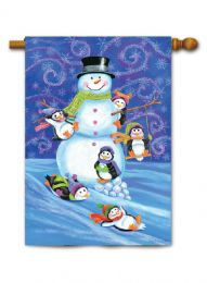 "Outdoor Decorative Garden or House Flag - Snowman Penguins (Flag size: 28"" x 40"")"