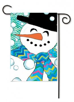 "Outdoor Decorative Garden or House Flag - Chevron Snowman (Flag size: 12.5"" x 18"")"