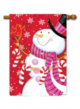 "Outdoor Decorative Garden or House Flag - Pink Scarf Snowmen (Flag size: 28"" x 40"")"