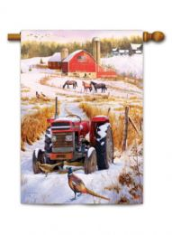 "Outdoor Decorative Garden or House Flag - Tractor Barn (Flag size: 28"" x 40"")"