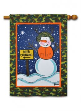 "Outdoor Decorative Garden or House Flag - Camo Snowman (Flag size: 28"" x 40"")"