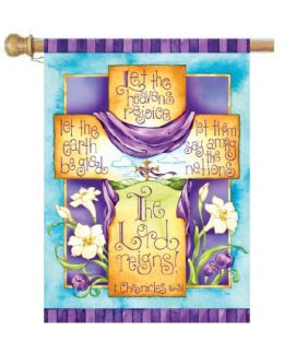 "The Lord Reigns Easter Cross Spring Holiday Decorative Flags (Flag size: 28"" x 40"")"