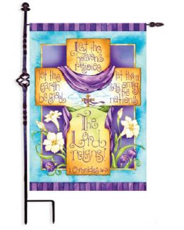 "The Lord Reigns Easter Cross Spring Holiday Decorative Flags (Flag size: 12.5"" x 18"")"