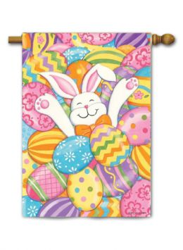 "Decorative House & garden Flag or Doormat - Bunny Eggs (Select Flag or Doormat: 28"" x 40"")"