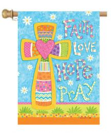"Faith Hope Love Pray Easter Garden & House Flag (Flag size: 28"" x 40"")"