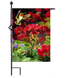 "Ruby Red Hummer Spring Seasonal Flag & Mat Collection (Select Flag or Doormat: 12.5"" x 18"")"
