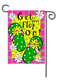"Decorative Garden or House Flag - Get Your Flop On (Flag size: 12.5"" x 18"")"