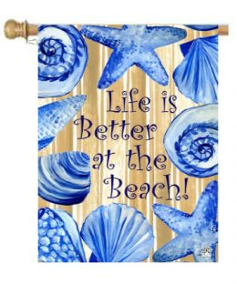 "Life is Better Beach Summer Flag & Mat Collection (Select Flag or Doormat: 28"" x 40"")"