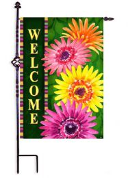 "Welcome Gerberas Spring Seasonal Decorative Flag & Mat Collection (Select Flag or Doormat: 12.5"" x 18"")"