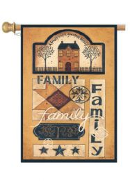 "Family Patchwork Inspirational Garden or House Flag & Doormat (Select Flag or Doormat: 28"" x 40"")"