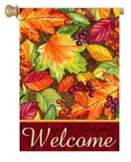 "Decorative House & Garden Flag or Doormat - Welcome Leaves (Select Flag or Doormat: 28"" x 40"")"