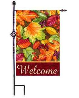 "Decorative House & Garden Flag or Doormat - Welcome Leaves (Select Flag or Doormat: 12.5"" x 18"")"